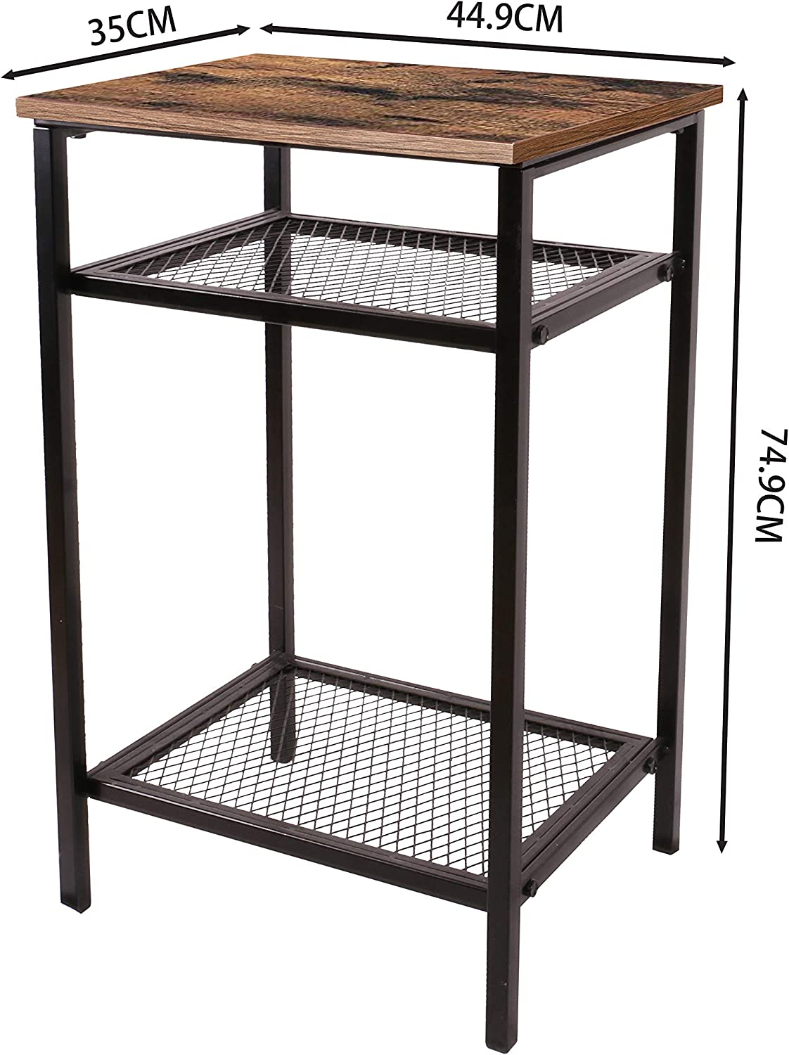 Bedroom,Rustic Brown Iron shelf Narrow and Space Saving in Living Room End Table YOUKE Industrial Side Table 45 * 35 * 75 cm Easy Assembly,Bedside Table With Mesh Shelf