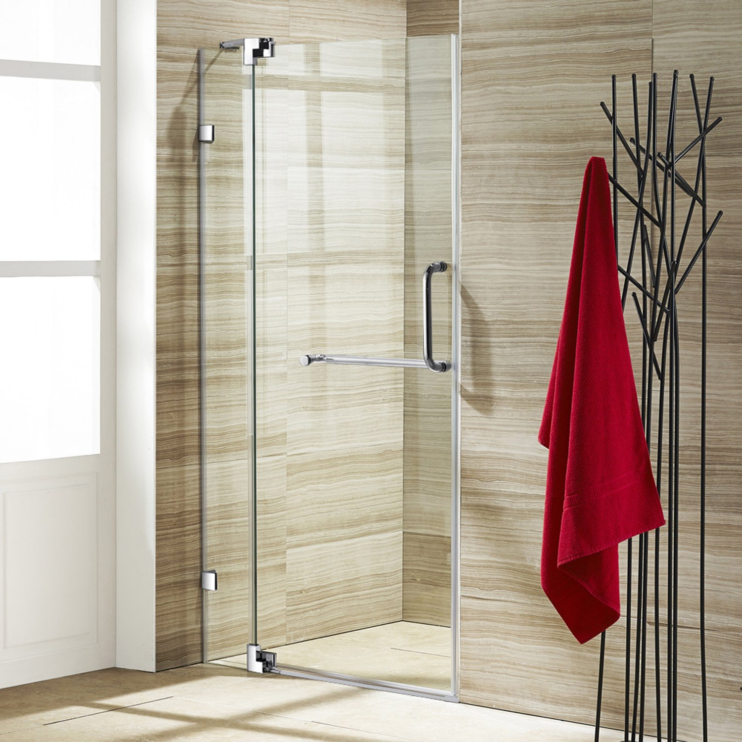 Vigo pirouette 30 to 36 in frameless shower door with 375 in vigo pirouette 30 to 36 in frameless shower door with 375 in clear glass and chrome hardware amazon planetlyrics Choice Image