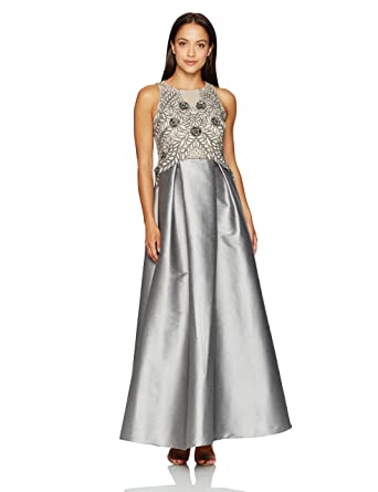 7e0de323e48 Adrianna Papell Women s Petite Size Irridescent Faille Beaded Gown at  Amazon Women s Clothing store