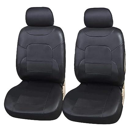 Upgrade4cars Fundas Asientos Delanteros Coche Poli-Piel Universales Negro | Protector de Asiento Delantero para Conductor y Copiloto | Accesorios ...