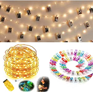 YOLLAYO Photo Clips String Lights, 33FT 100 LED Fairy Lights with 50 Clips for Hanging Pictures Teen Girls Room Decor Photo Fairy Lights with Clips- Bedroom Dorm Wall Christmas Decor