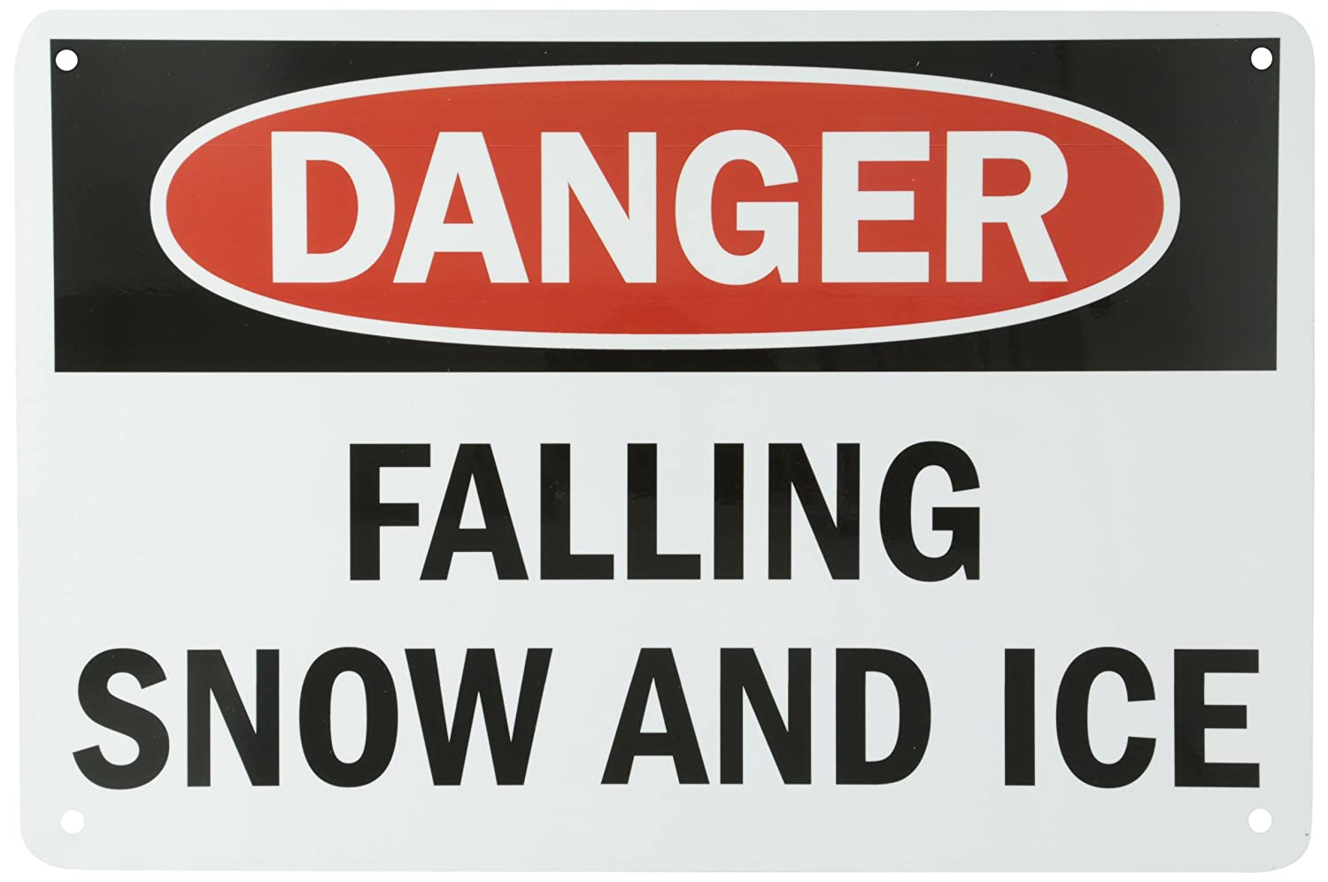 SmartSign Aluminum Sign, Legend'Danger: Falling Snow and Ice', 12' High X 18' Wide, Black/Red on White LegendDanger: Falling Snow and Ice 12 High X 18 Wide Lyle Signs S-8189-AL-12x18