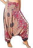 Lofbaz Women's Smocked Waist Rose Pattern Harem