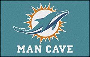 """FANMATS 14325 NFL Miami Dolphins Nylon Universal Man Cave Starter Rug,Team Color,19""""x30"""""""