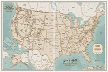 Amazon.com: Rustic US Map for RV - Personalized USA National Park ...