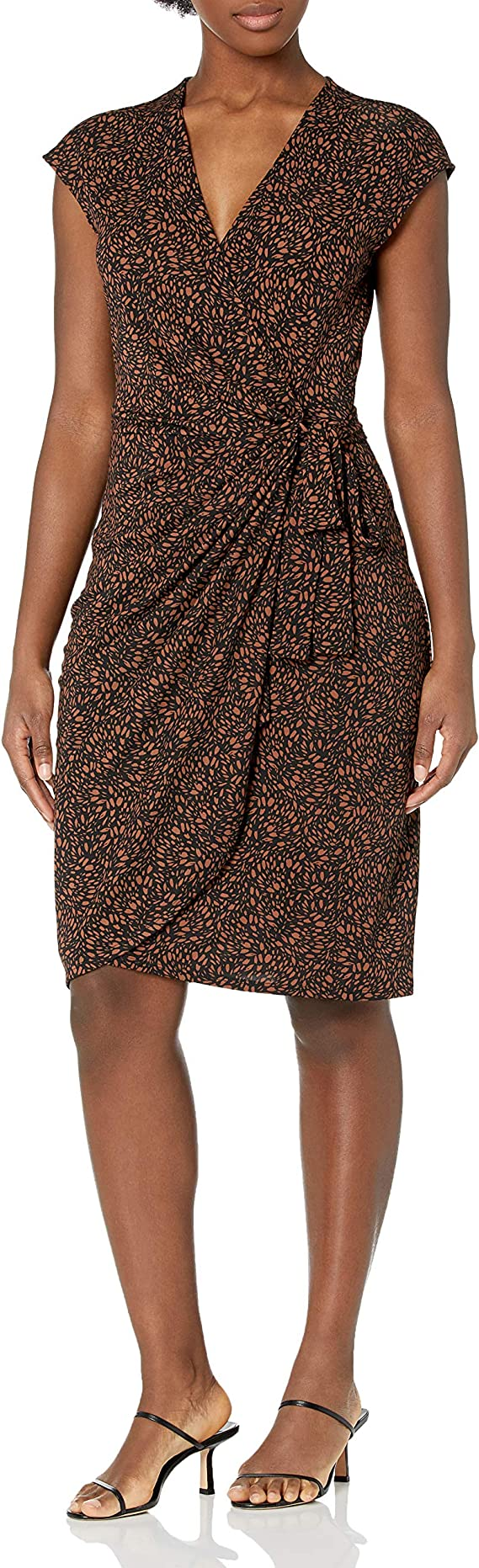2X Navy Lark /& Ro Women/'s Plus Size Classic Cap Sleeve Wrap Dress