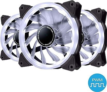 EZDIY-FAB Ventilador de Anillo de 120mm PWM LED,Ventilador de Caja ...