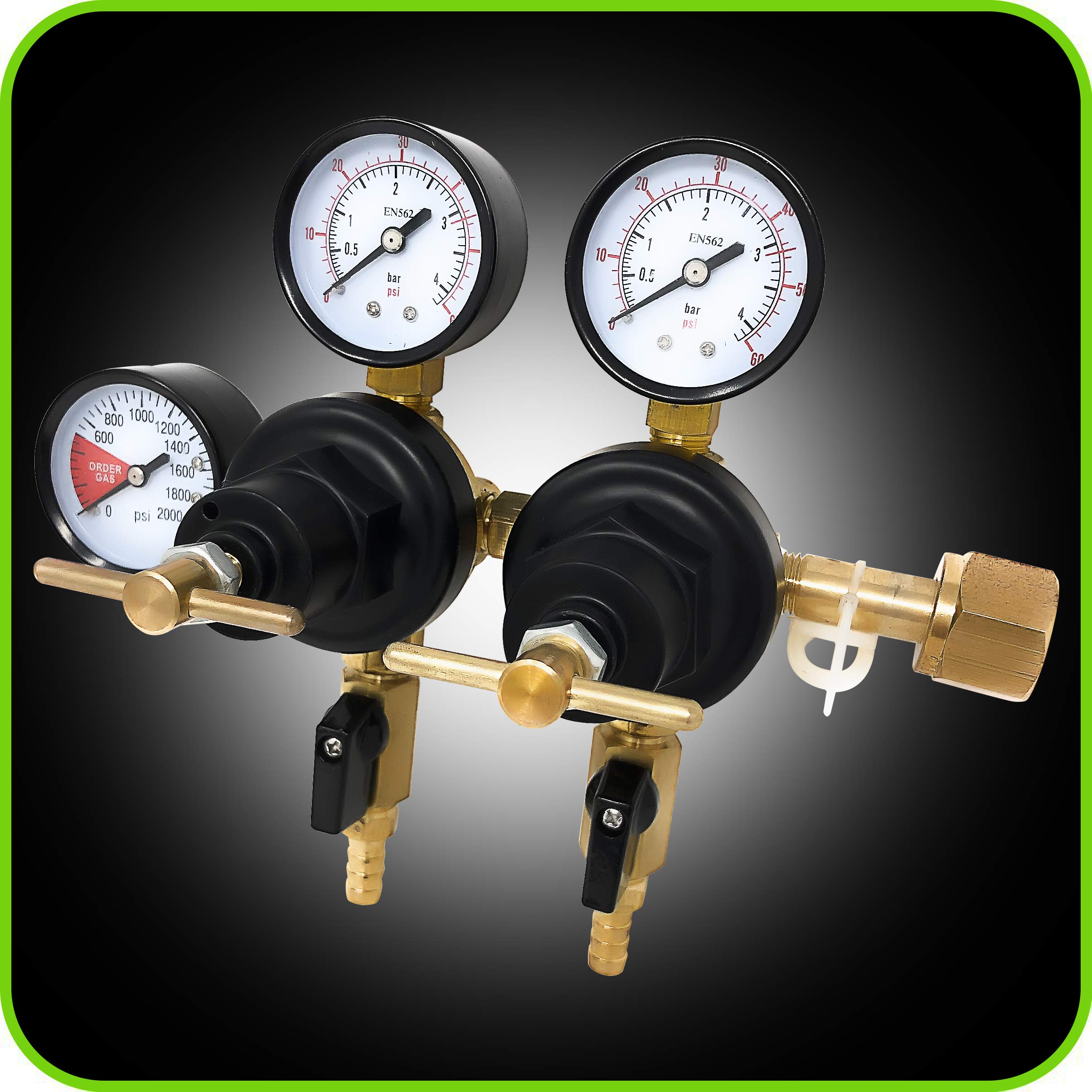 Co2 Beer Regulator Two Product Dual Pressure Kegerator Heavy Duty Features T-Style Adjusting Handle - 0 to 60 PSI-0 to 2000 Tank Pressure CGA-320 Inlet w/ 3/8'' O.D. Safety Discharge 50-55 PSI by Manatee (Image #4)