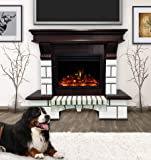 CAMBRIDGE 48-in. Belcrest Traditional Faux Brick Enhanced Log Display, White and Mahogany, CAM4714-1WHMLG3 Electric Fireplace Mantel