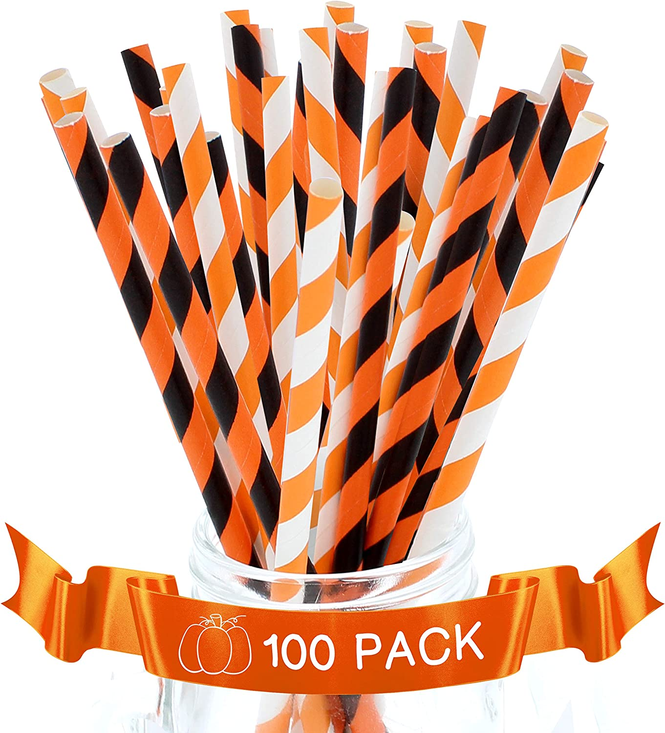 Party On Tap Paper Straws - Orange, White and Black Striped Party Straws - Pack of 100 - Biodegradable and Disposable Pumpkin Party Decorations