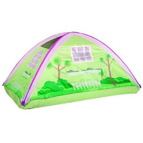 amazon com pacific play tents kids cottage bed tent playhouse rh amazon com cottage bed tent twin Secret Castle Bed Tent