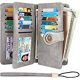 Lavemi Womens Large Capacity RFID Blocking Leather Wristlet Clutch Wallets Card Holder