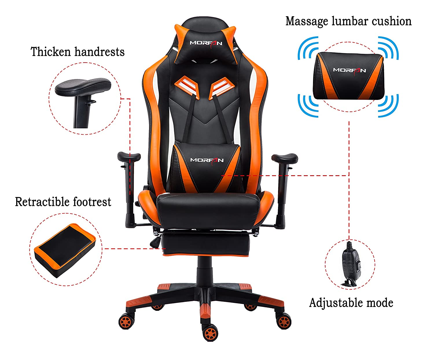 MORFAN Gaming Chair Large Size Ergonomic Executive Office Home Racing Chair with Lumbar Massager Support Adjustable Headrest Pillow Retractable Footrest Black Orange
