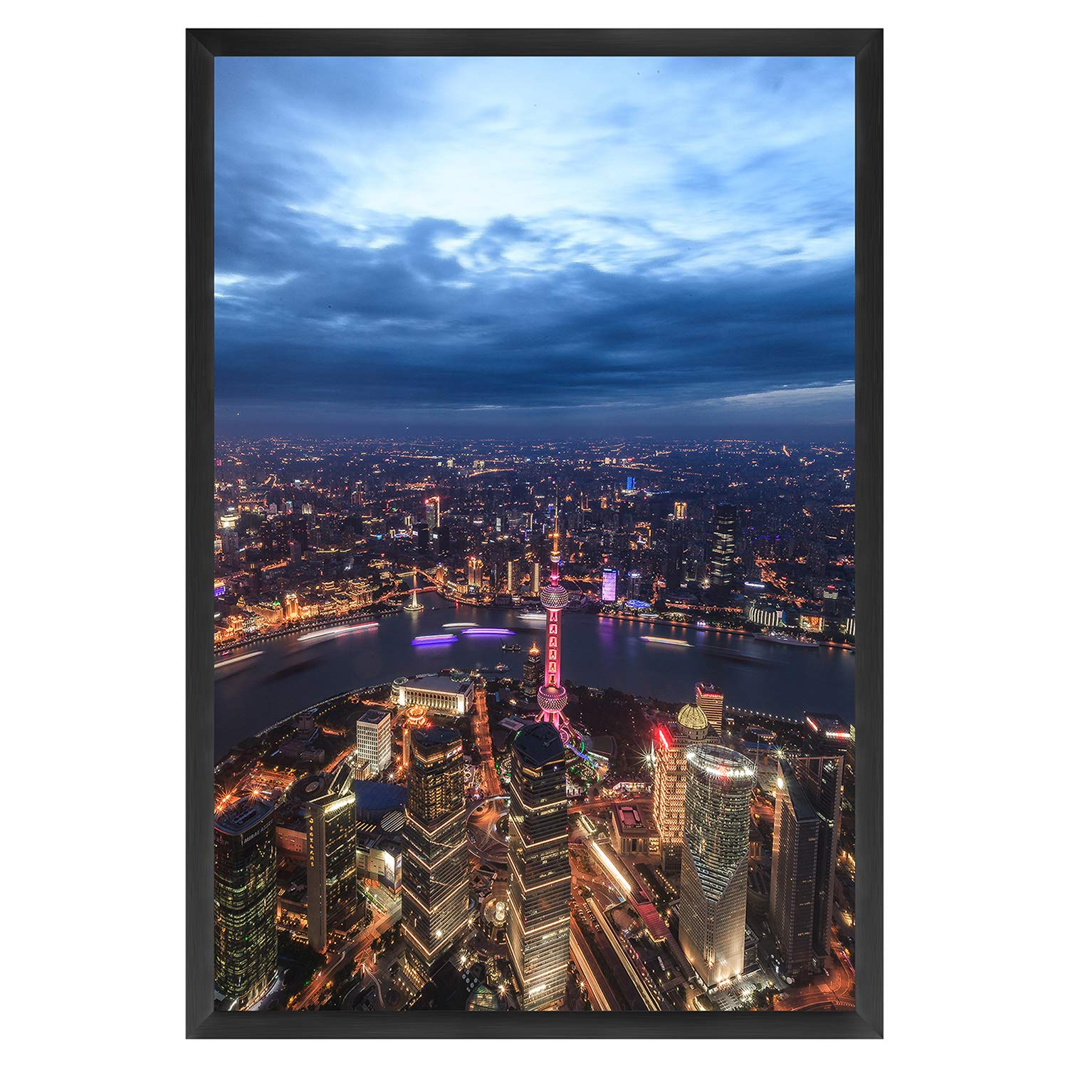 ONE WALL 27x40 Inch Poster Frame, Black Aluminum Movie Poster Frame for Photo Picture Poster Artwork Wall Hanging - Wall Mounting Hardware Included