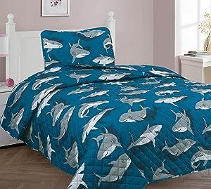 Golden linens Twin Size 2 Pieces (1 Bedspread + 1 Pillow Sham) Printed Bedspread/Coverlet Sets/Quilt Sets Blue Grey Shark Design # Twin Shark Quilt