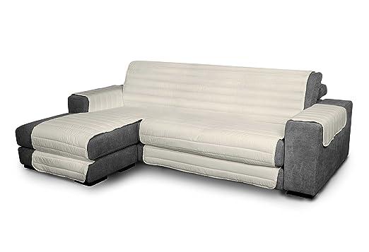 Italian Bed Linen Elegant - Funda Protectora para Sofá Chaise Longue Izquierdo, Microfibra, Crema, Medida del asiento 290 cm + cubre brazos laterales