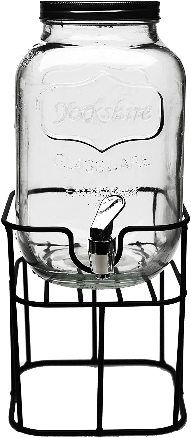 Circleware Sun Tea Mini Mason Jar Glass Beverage Dispenser with Lid Glassware For Water, Juice, Beer, Wine, Liquor, Kombucha Iced Punch & Cold Drinks, Classic, Yorkshire 1 Gallon with Stand