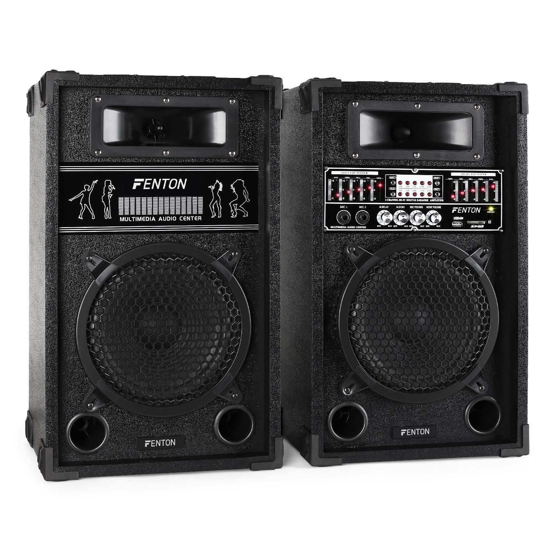 Skytec set coppia casse attive amplificate diffusori (600 Watt, USB SD MP3, 2 MIC IN, equalizzatore, RCA)