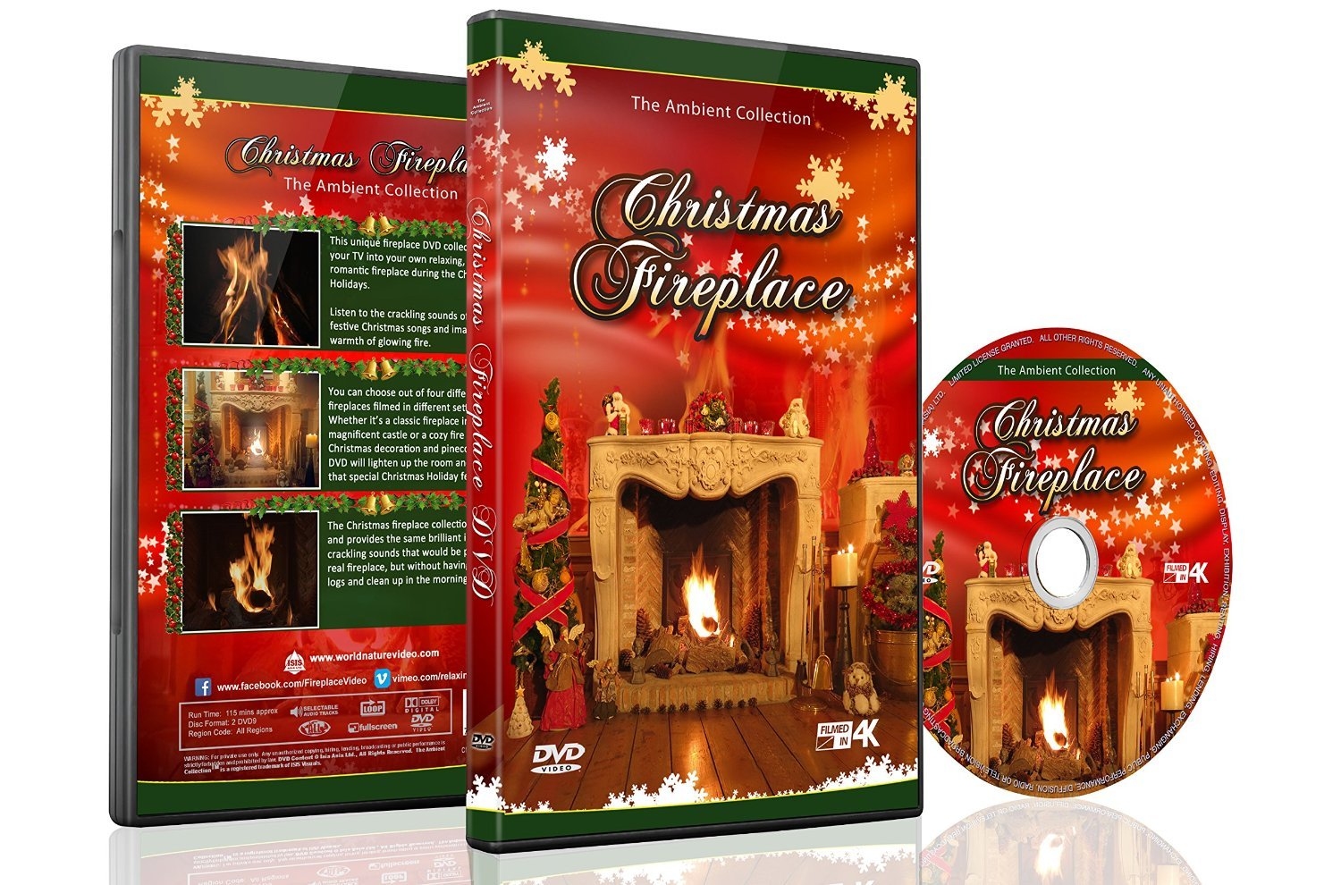 amazon com christmas dvd christmas fireplace with long wood