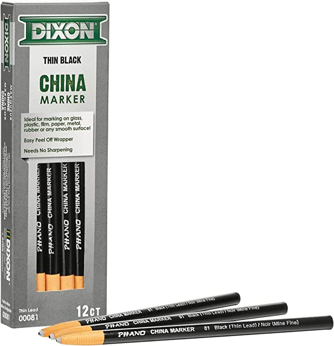 4 BROWN CHINA MARKER GREASE PENCIL FOR GLASS FILM PLASTIC PAPER METAL RUBBER