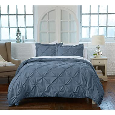 Great Bay Home Signature Pinch Pleated Pintuck Duvet Cover with Button Closure. Luxuriously Soft 100% Brushed Microfiber with Textured Pintuck Pleats and Corner Ties (Full/Queen, Soft Teal)