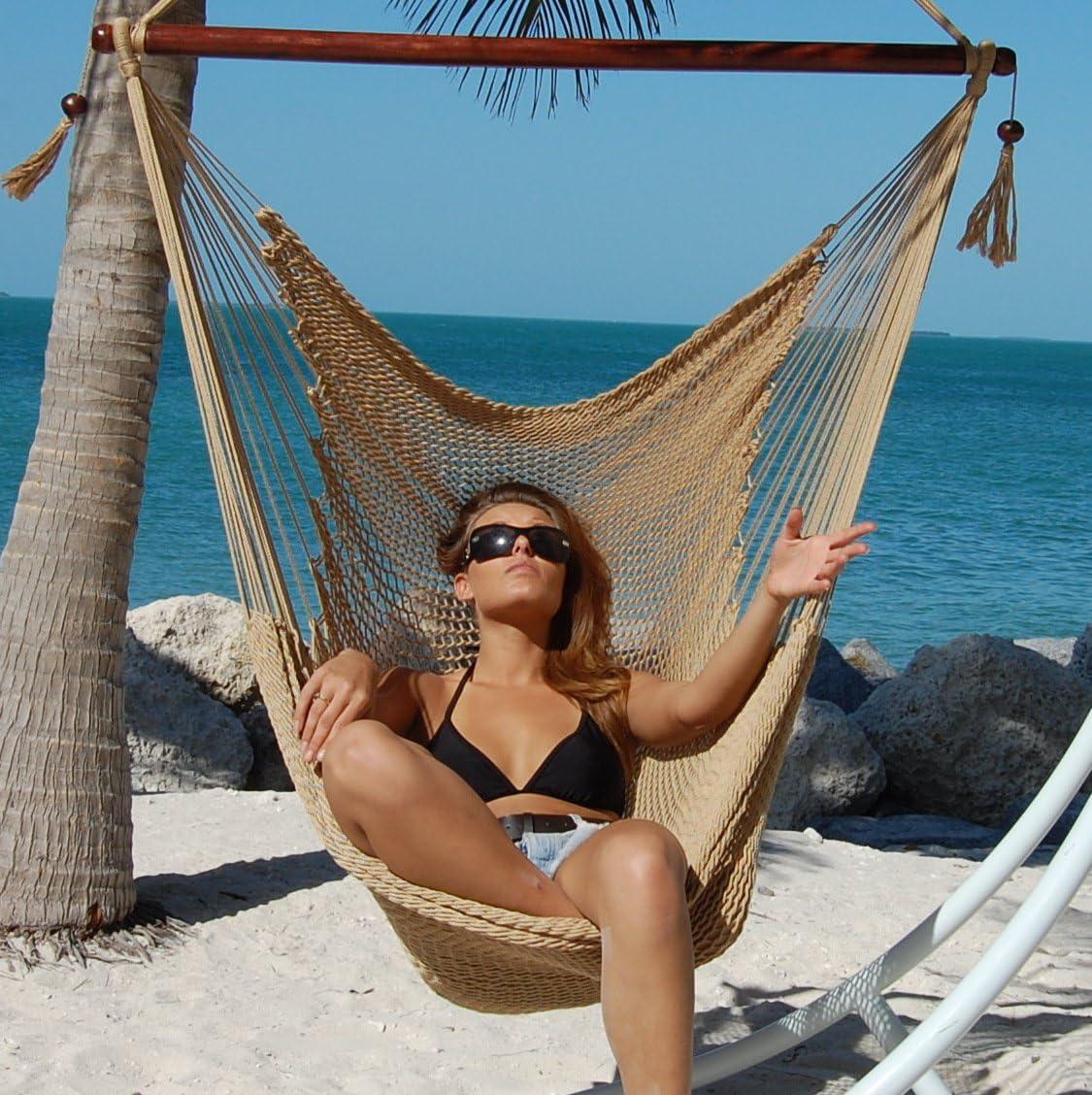 Caribbean Hammocks Large 48-Inch Polyester Hammock Chair - Tan - 300 lbs Weight Capacity
