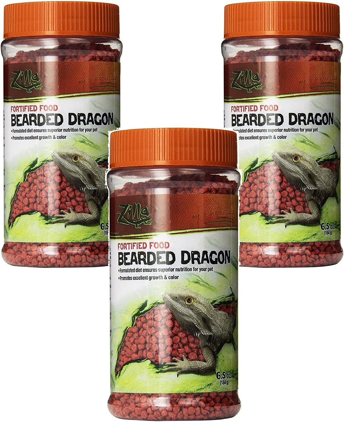Zilla Reptile Food Bearded Dragon Fortified, 6.5-Ounce (3 Pack)
