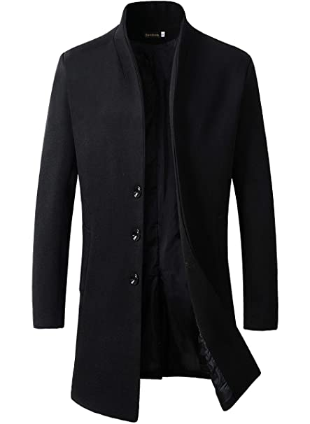 6f0249795 Men's Wool Slim Fit Long Jacket Business Coat: Amazon.ca: Clothing ...