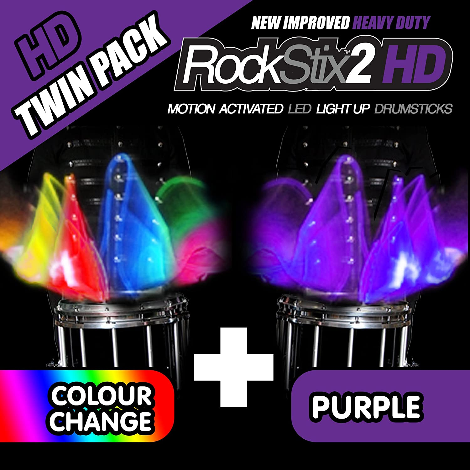 BRIGHT LED LIGHT UP DRUMSTICKS ROCKSTIX 2 HD DEEP PURPLE with fade effect Set your gig on fire!