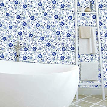 Flower Peel And Stick Wallpaper Blue White Self Adhesive Contact Paper Removable Wall Paper 17 7 X118 Floral Vinyl Contact Paper Decorative Glossy Waterproof Wallpaper Shelf Drawer Liner Home Decor Amazon Com