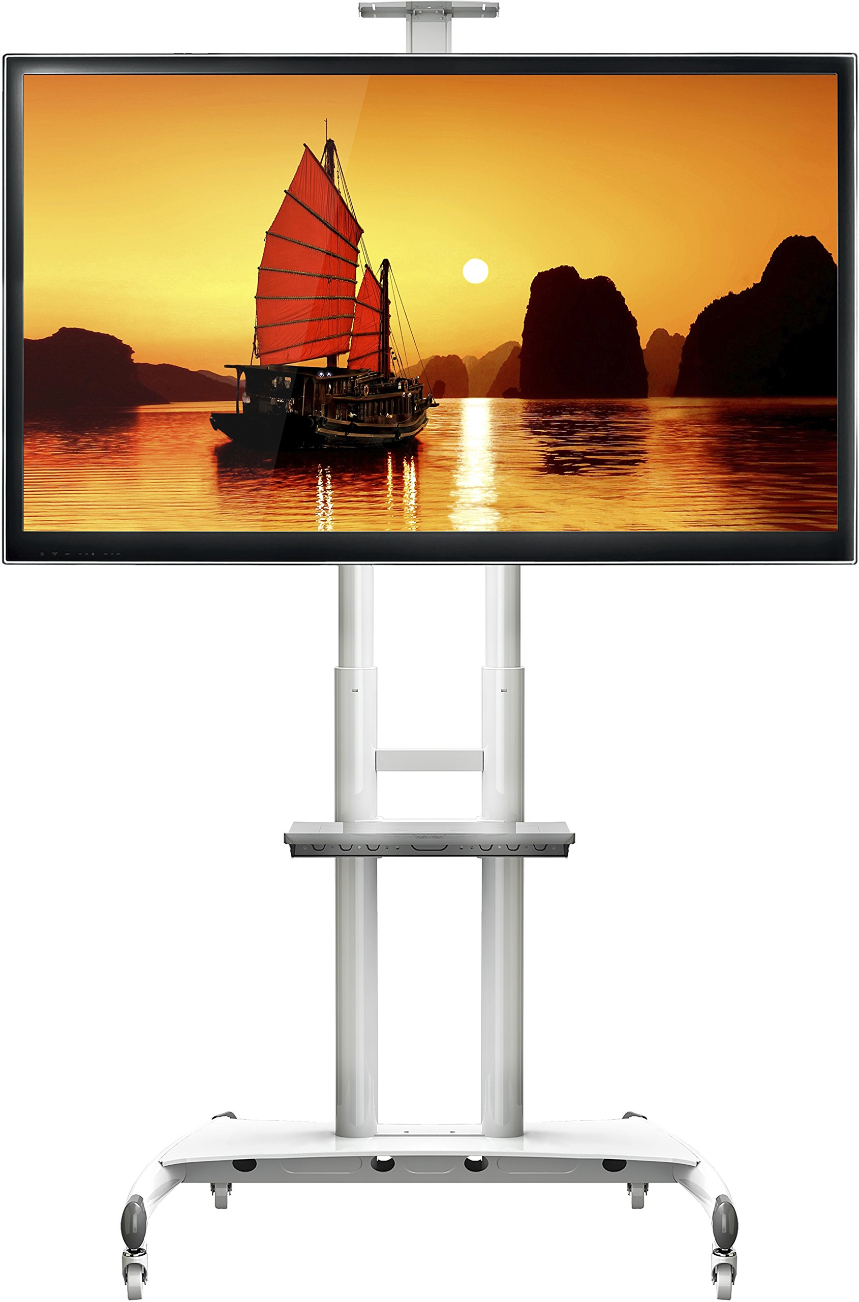 North Bayou Universal Mobile TV Stand for Flat Panel Screen 55'' - 80 inch LCD LED OLED Televisions Heavy Duty Portable Cart with VESA Mount up to 200 lbs AVA1800-70-1P White by North Bayou