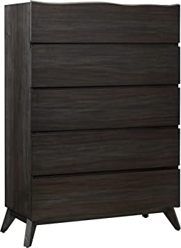 Benjara 5 Drawer Wooden Chest With Angled Legs And Wavy Front Brown Furniture Decor