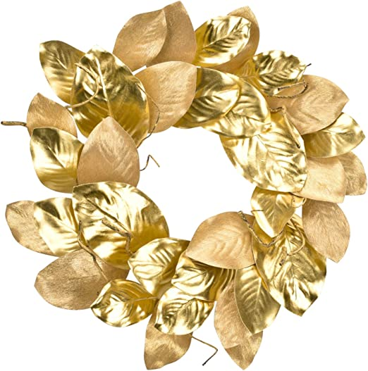 Amazon Com Cloris Art Christmas Wreath For Front Door Artificial Magnolia Leaves 22 Inch Wreaths For Farmhouse Home Wedding Party Wall Windows Decor Gold Kitchen Dining