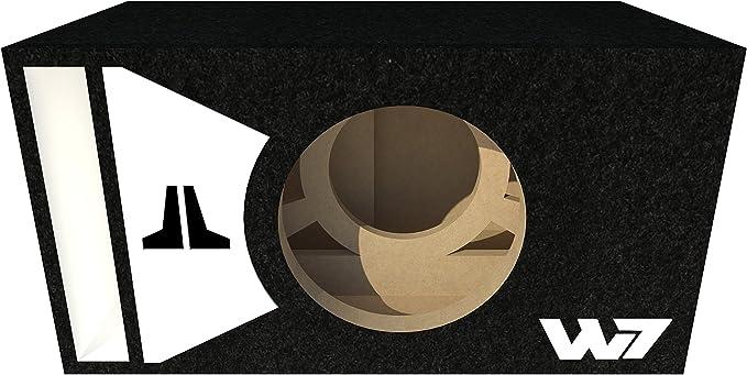JL Audio 8W7 AE sealed subwoofer box with white plexi logo