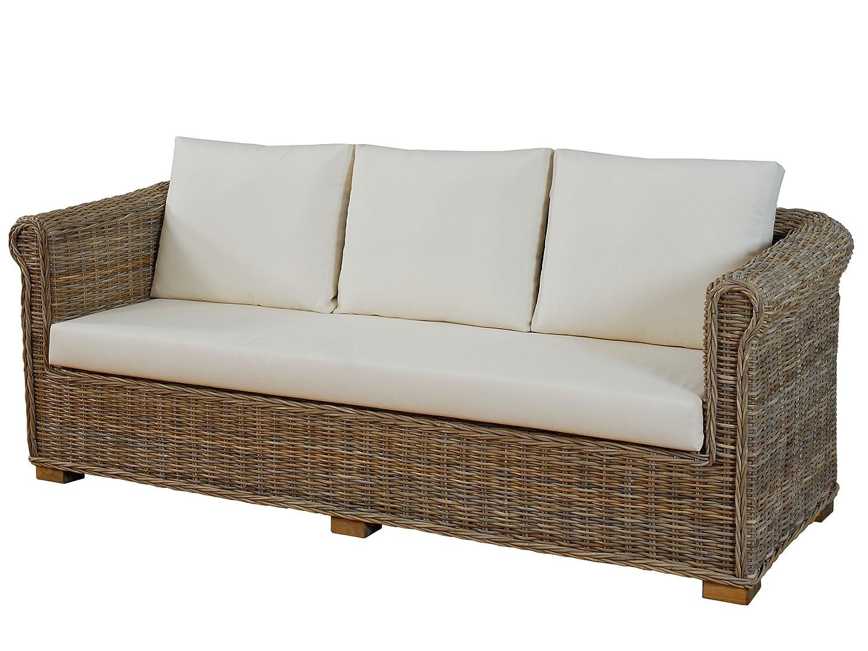 wohnzimmer sofa nizza aus echtem ungesch ltem rattan 3 sitzer lounge sofa mit polster natur. Black Bedroom Furniture Sets. Home Design Ideas