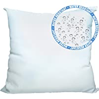 Foamily Premium Outdoor Water and Mold Resistant Hypoallergenic Stuffer Pillow Throw Inserts Sham Square Form, 12″ L X 12″ W, Standard/White