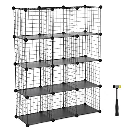 SONGMICS Shoe Rack,Metal Wire Storage Cube,DIY Closet Shelving Organizer  Unit, Cabinet