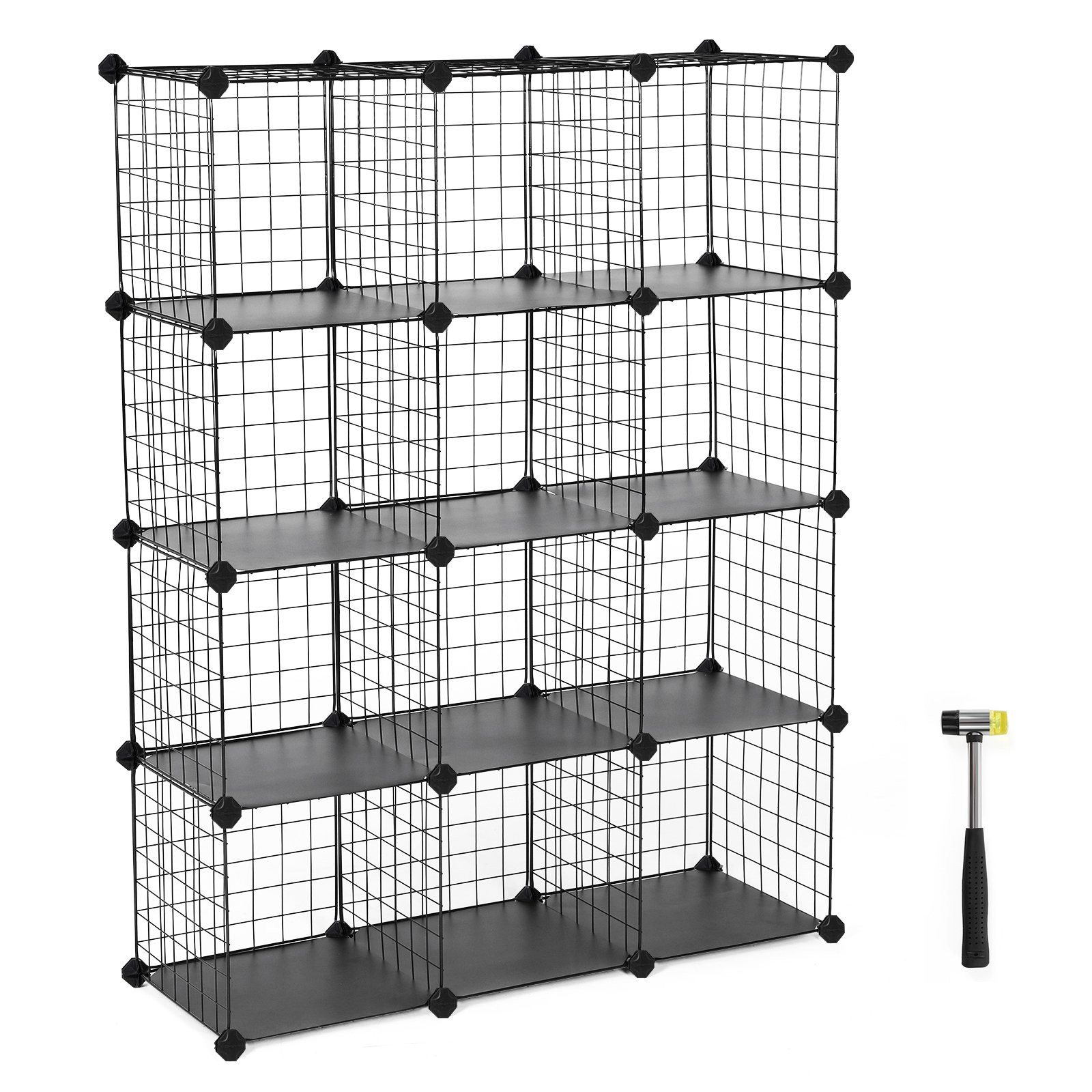 SONGMICS 12-Cube Metal Wire Storage Cube, Cube Storage Organizer, Modular Bookcase, DIY Closet Cabinet Shelf with Rubber Mallet 36.6''L x 12.2''W x 48.4''H, Black, ULPI34H