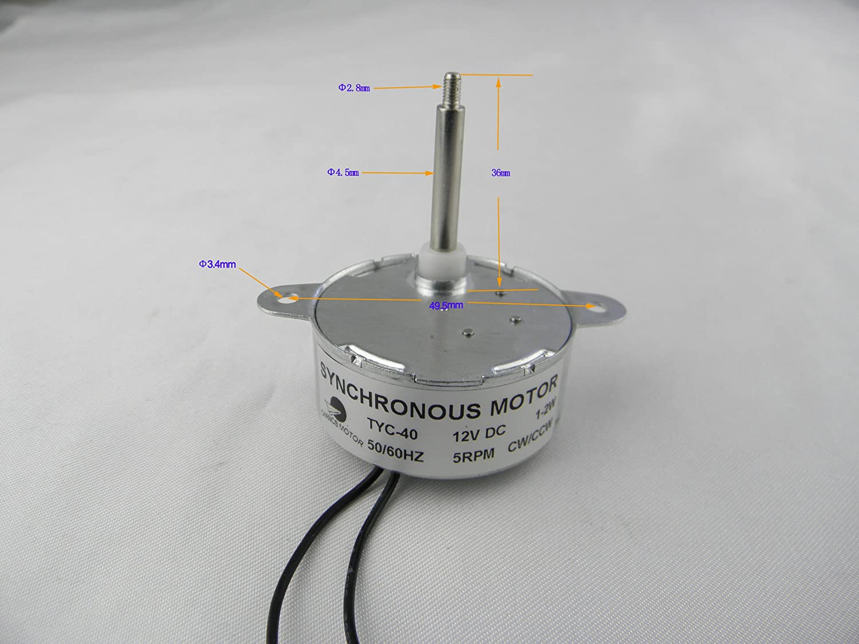 TYC-40 Motor sincrónico DC (corriente directa) 12V 5RPM CW/CCW Esfuerzo de torsión 0.5Kg.cm 35mm del eje 12V Energía de la batería: Amazon.es: Bricolaje y ...