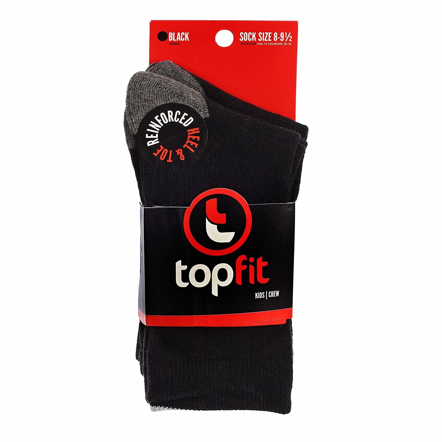 Youth Fashion Cotton Solid Crew Socks 3 and 6 Pack Boys Dress Socks by Topfit Kids Socks Boys Socks