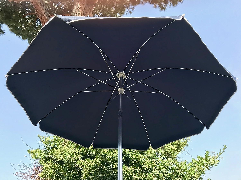 jard/ín y balc/ón turquesa /Sombrilla parasol de playa de aluminio de 220/cm con articulaci/ón para la reclinazione Color Verde EUROLANDIA 89503/Ver/ para playa