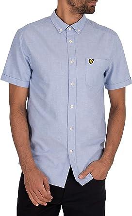 Lyle & Scott de los Hombres Camisa Oxford de Manga Corta, Azul: Amazon.es: Ropa y accesorios