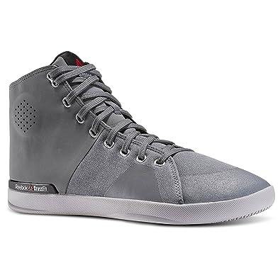 4867e1cb10d Reebok Mens Crossfit Lite TR Mid 2.0 Canvas Fitness Shoe Alloy Grey Tin  Grey