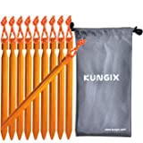 Kungix テントペグ18cm 軽量 軽い持ち運び便利 ジュラルミン製10本収納袋付きアウトドア用品 キャンプ用品ペグ