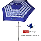 AMMSUN 6 Panels 7ft Polyester Fabric Heavy Duty Air-Vent UV Protection Beach Umbrella Patio