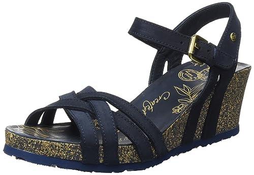 f55191bbbb156a PANAMA JACK Damen Vera Basics Offene Sandalen mit Keilabsatz Blau (Navy) 36  EU