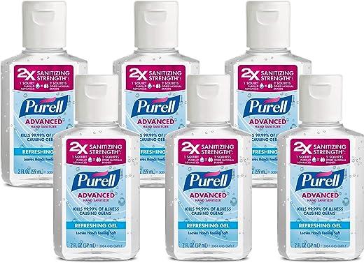 PURELL Advanced Hand Sanitizer Refreshing Gel, Clean Scent, 2 fl oz Travel Size Flip Cap Bottle (Pack of 6) – 3155-04-EC
