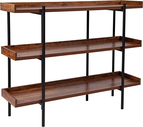 Flash Furniture Mayfair 3 Shelf 35 H Storage Display Unit Bookcase with Black Metal Frame in Rustic Wood Grain Finish, JN-2542B3-GG