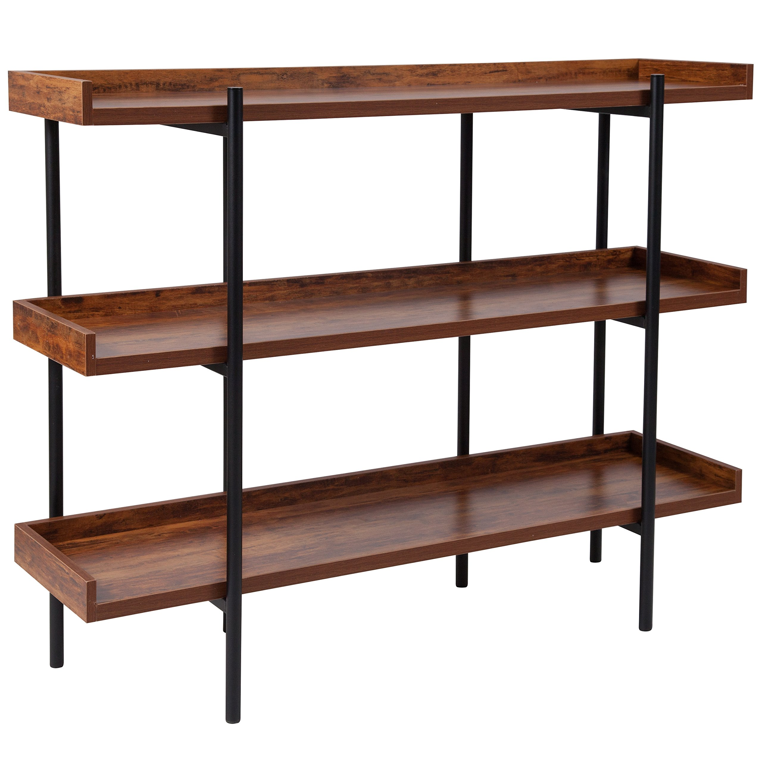 Flash Furniture Mayfair 3 Shelf 35''H Storage Display Unit Bookcase with Black Metal Frame in Rustic Wood Grain Finish by Flash Furniture