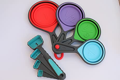 8 PIECE VALUE PACK U2013 SILICONE MEASURING CUPS AND SPOONS   Portable,  Collapsible, And